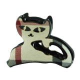 Hårklämma katt med snedrutor
