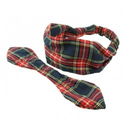 Hårband skotskrutig med/utan knut