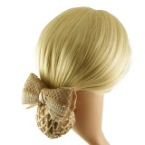 Hårspänne virkad rosett med hårnät