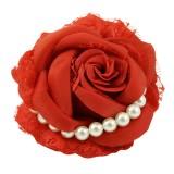 Hårklämma/brosch ros med pärlor