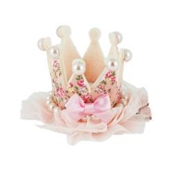 Hårklämma stor krona med pärlor