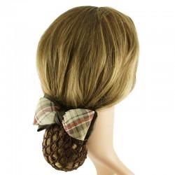 Hårspänne brun rosett med hårnät