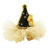 Hårklämma konformad svart & guld festhatt Small