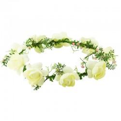 Hårkrans elfenbensvita rosor