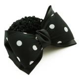 Hårspänne svart rosett vita prickar med hårnät