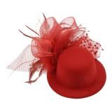 Hårdekoration röd hatt med rosett