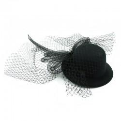 Hårdekoration svart hatt med rosett