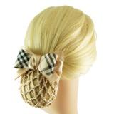 Hårspänne rutmönstrad rosett med hårnät