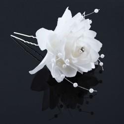 Hårnål vit ros med strass och pärlband 2-pack