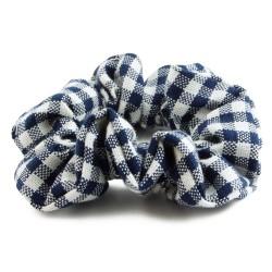 Scrunchie garnfärgad mörkblå smårutig