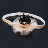 Hårband svart krona med kristall