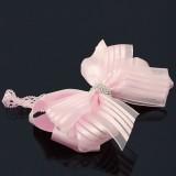 Hårband barn rosa rosett med strassband