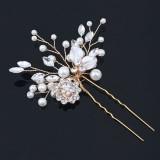 Hårnål förgylld med strass, blommor och pärlor